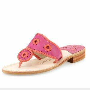 Jack Rogers Neon Whipstitch Leather Thong Sandals